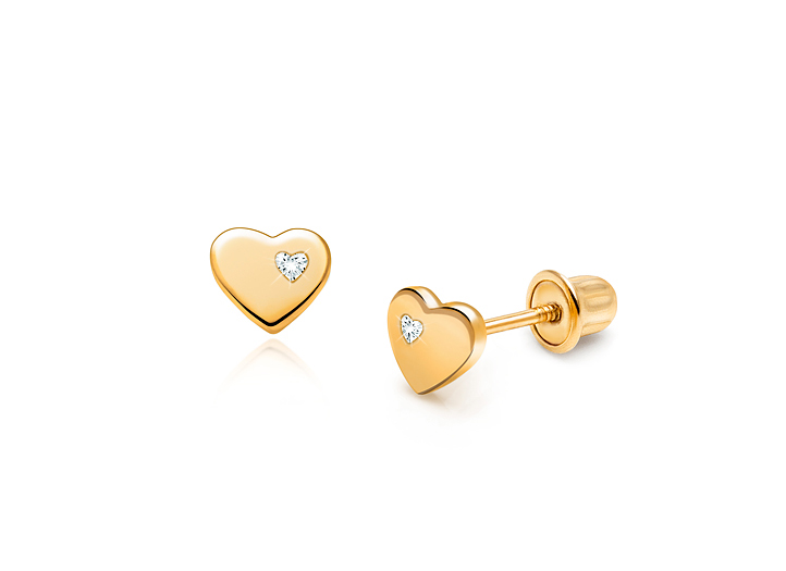 Wellingsale 14K Yellow Gold Polished 5mm Heart Bezel Set Birth CZ Cubic Zirconia Stone Stud Earrings With Screw Back May