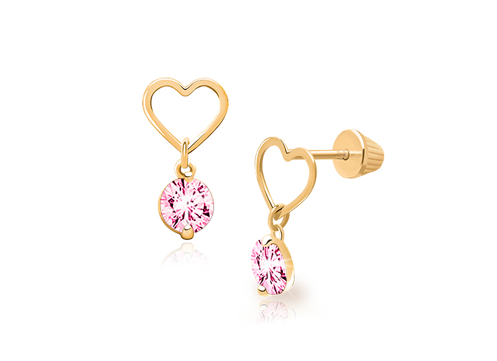 14k Yellow OR White Gold Heart Stud Earrings with Screw Back