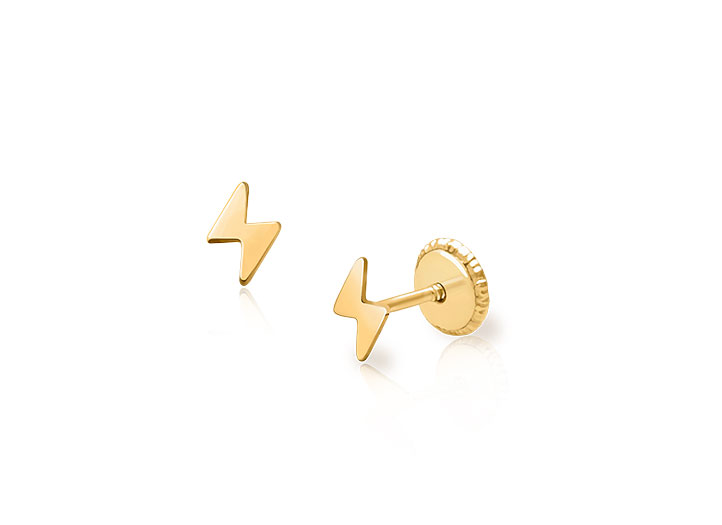 Lightning Bolt Baby Children S Earrings Screw Back 14k Gold