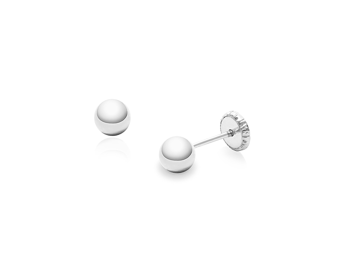 14k Yellow Gold 4mm Ball Stud Earrings with Screwback