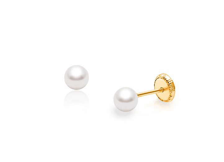 14K Solid Yellow Gold Shiny Bead Ball Baby Screw Back Earrings 4mm Gold Bead