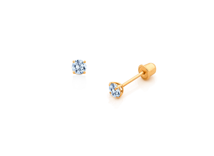 Aquamarine 14k Rose Gold Youth Imitation March Birth Month Stone Flower Earrings