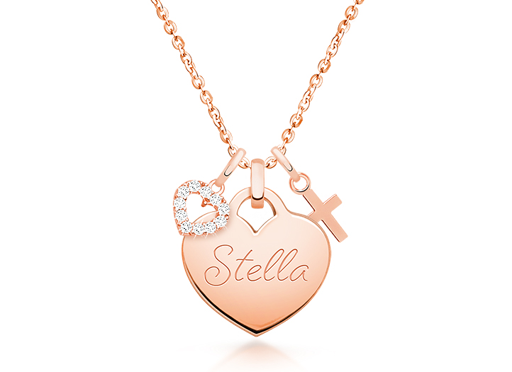 Personalized Jewelry Cross Charm Rose Gold Necklace Mom Necklace Personalized Necklace My Blessings Gift for Her