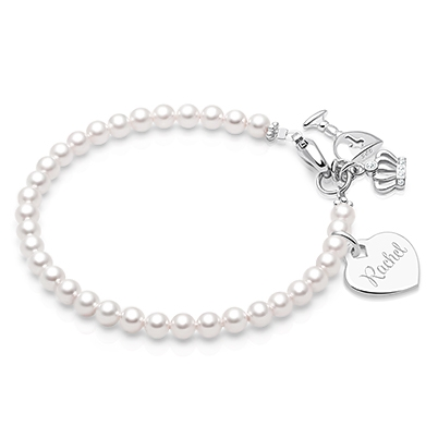 CB Girl First Holy Communion Adjustable 7 Elastic Charm Bracelet with Imitation Pearl and Silver Tone Bead Chalice and Cross for a Girls 1st Communion Includes 6 Dangle Charms