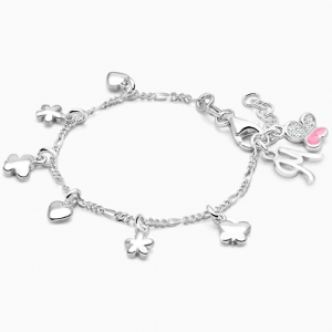 5.5 Inches Growth Chain Childs Personalized Sterling Silver August Birthday Charm Bracelet