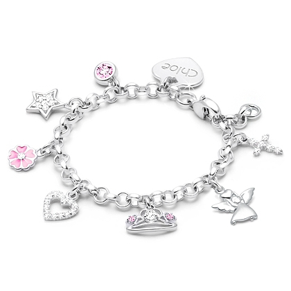 Solid Silver Baby Bracelet Personalized Gift Cut Out Design Christening Gift
