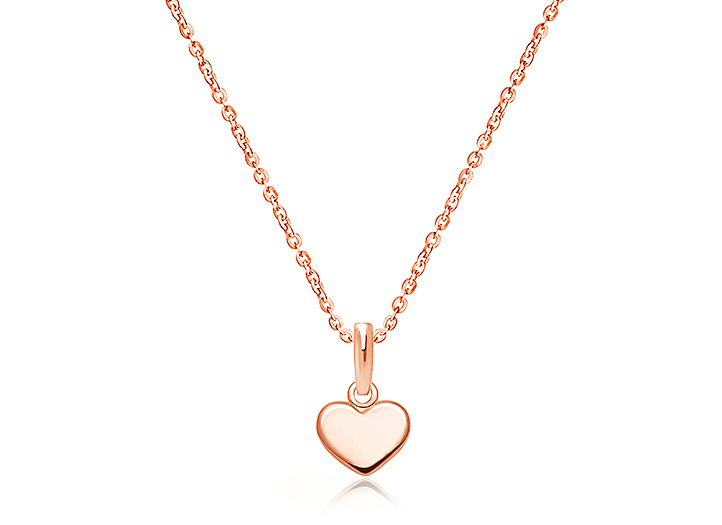 Classic Heart Tiny Children S Necklace For Girls 14k Rose Gold