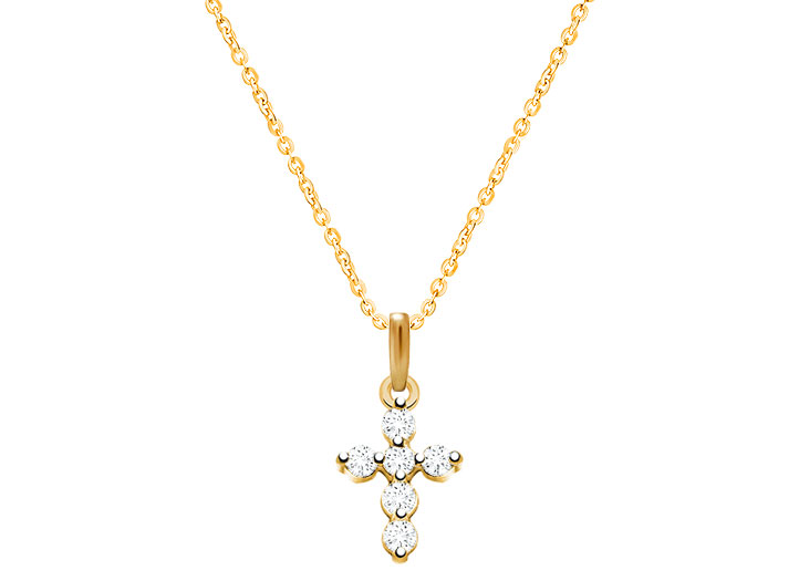 Glory Grace Cross With Genuine Diamonds Children S Necklace For Girls 14k Gold
